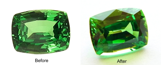 Tsavorite before/after